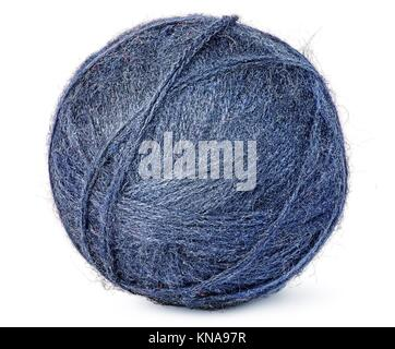 Ball of blue wool yarn isolated on white background. - Stock Photo