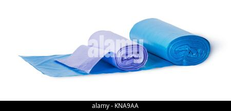 Blue and violet rolls of plastic garbage bags isolated on white background. - Stock Photo