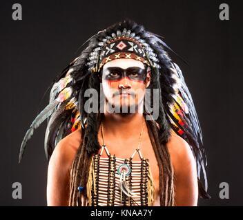 Native American Indian Chief War Bonner Headdress. - Stock Photo