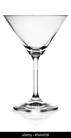 Empty martini glass isolated on white background. - Stock Photo