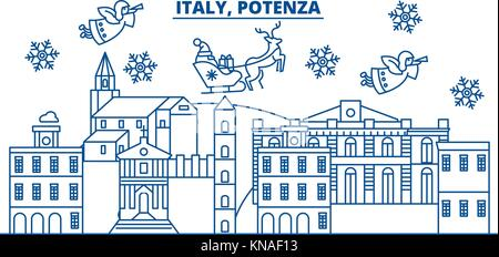 Italy, Potenza winter city skyline. Merry Christmas, Happy New Year decorated banner with Santa Claus.Winter greeting - Stock Photo