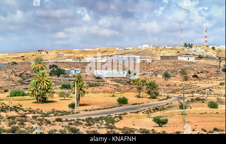 Typical Tunisian landscape at Ksar Ouled Soltane near Tataouine. North Africa - Stock Photo