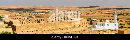 View of Ksar Ouled Abdelwahed at Ksour Jlidet village in South Tunisia - Stock Photo