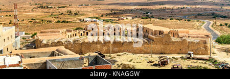 View of Ksar Ouled Boujlida at Ksour Jlidet village in South Tunisia - Stock Photo