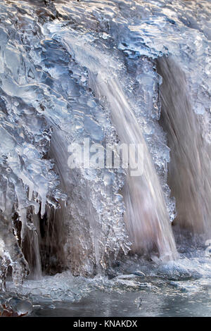 Frozen waterfall at morning sunlight, Ledges State Park, Iowa, USA. - Stock Photo