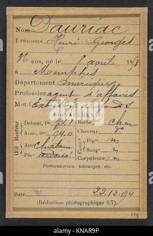 Dauriac. Henri, Georges. 36 ans, né à Memphis (USA). Agent d'affaires. Extortion de fonds. 22-12-94. MET DP290379 - Stock Photo