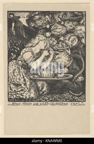 Buy from Us with a Golden Curl (frontispiece to  Goblin Market and other Poems  by Christina Rossetti) MET DP835742 - Stock Photo