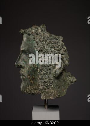 Fragmentary bronze portrait of the emperor Caracalla MET DP338139 255957 - Stock Photo