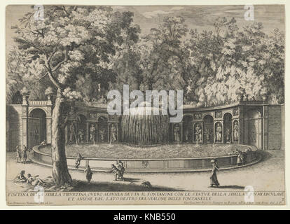 Book IV, plate 7- the fountain of the Tiburtine sibyl in the garden at Villa d'Este, Tivoli, from the series 'The - Stock Photo