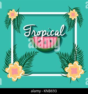 tropical watermelon flowers leaves palm frame decoration - Stock Photo