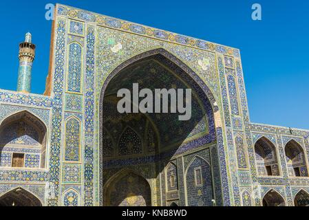 View from main courtyard of Shah Mosque also called Imam mosque in Isfahan, Iran. - Stock Photo