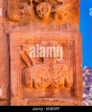 Ancient Nabatean Warrior Carving Temenos Gate Entrance Petra City Jordan Petra built between 3rd Century BC to 300 - Stock Photo