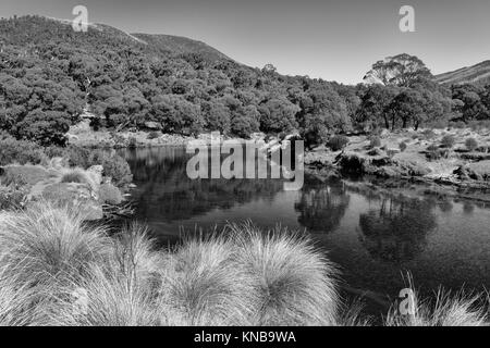 Black and white image of Thredbo River at Thredbo Diggings in Kosciuszko National Park in the Snowy Mountains in - Stock Photo