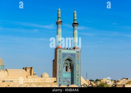 Grand Jame Mosque of Yazd city in Iran. - Stock Photo