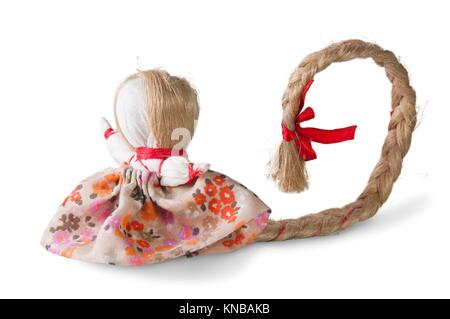 Russian traditional reg doll with tress isolated on white. - Stock Photo