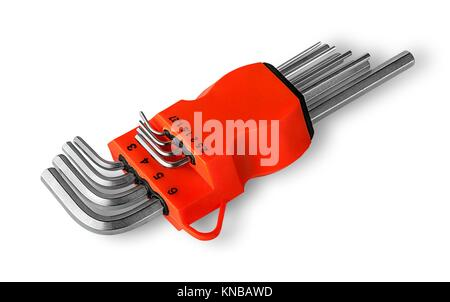Set allen wrench in holder isolated on white background. - Stock Photo