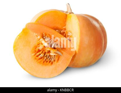 Slice Of Pumpkin Behind Around Isolated On White Background. - Stock Photo