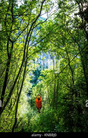 Zip line at Canyon of Cetina River near Omis, Croatia. - Stock Photo