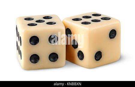 Two gaming dice isolated on white background. - Stock Photo