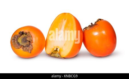 Two Whole And One Half Persimmons Isolated On White Background. - Stock Photo