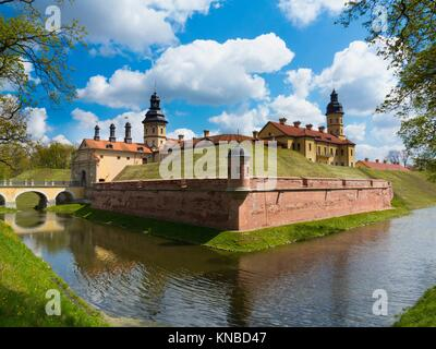 Niasvizh Castle in spring, Belarus, Europe. - Stock Photo