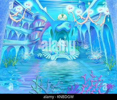 Digital Painting, Illustration of a Mysterious and Fantasy Undersea Atlantis Castle. Fantastic Cartoon Style Character, - Stock Photo