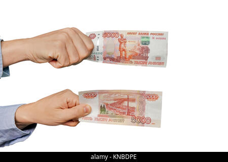 Russian banknote 5000 rubles in men hand isolated on white background. Banknotes from different angles on both sides. - Stock Photo