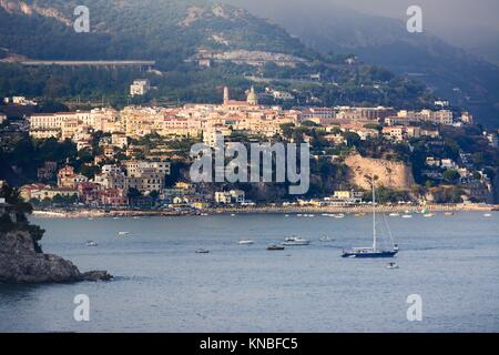 Sunset over Vietri sul Mare in the Amalfi Coast. - Stock Photo