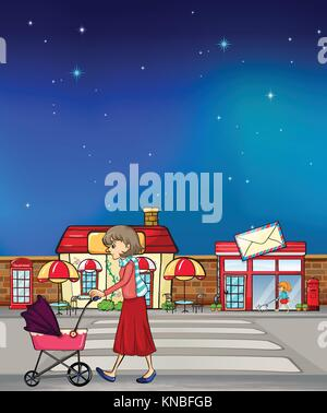 Illustration of a woman walking along the road with a pink pushcart - Stock Photo
