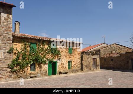 Village of villardeciervos, Sierra de La Culebra, Zamora province,Spain. - Stock Photo
