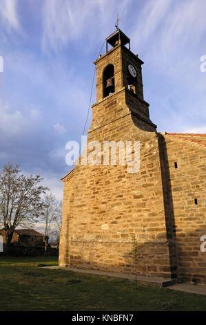 Church of Conjunto historico artistico de Villardeciervos, Sierra de la Culebra, Zamora. - Stock Photo