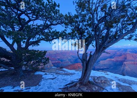 Grand Canyon with full moon over the South Rim in winter, from Hopi Point, Grand Canyon National Park, Arizona, - Stock Photo