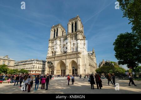 Western facade, Notre Dame Cathedral, Paris, France Stock Photo
