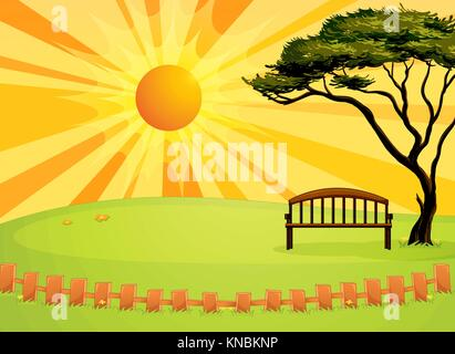 Illustration of an empty bench - Stock Photo