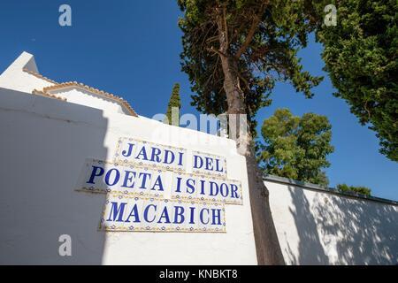 Poeta Isidor Macabich´s garden, Cemetery of Santa Eulària (Puig de Missa), Santa Eulària del Riu, Ibiza, Balearic - Stock Photo