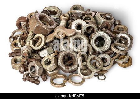 Pile of old fasteners top view isolated on white background. - Stock Photo