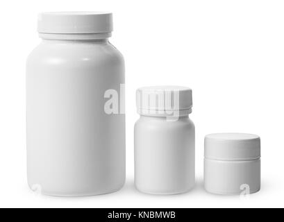 Plastic jars of different sizes for medicines isolated on white background. - Stock Photo