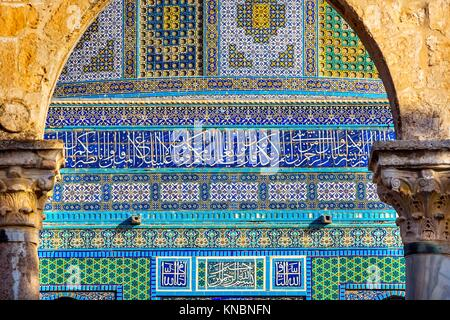 Dome of the Rock Islamic Designs Mosque Temple Mount Jerusalem Israel. Built in 691 One of most sacred spots in - Stock Photo