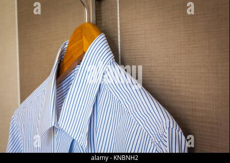 Italian business shirt detail, concept related to business trips. - Stock Photo