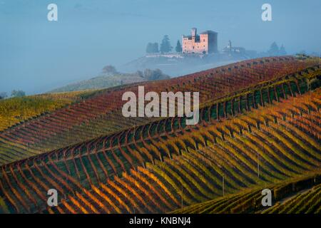 Autumn Vineyards on the hills, at the bottom the Castle of Grinzane Cavour wrapped in fog. - Stock Photo