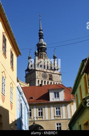 Unesco World Heritage Clock tower in Sighisoara Transylvania Romania. - Stock Photo