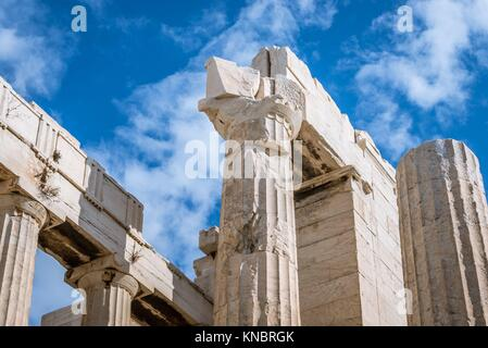 Close up on monumental gateway called Propylaea, entrance to the top of Acropolis of Athens city, Greece. - Stock Photo