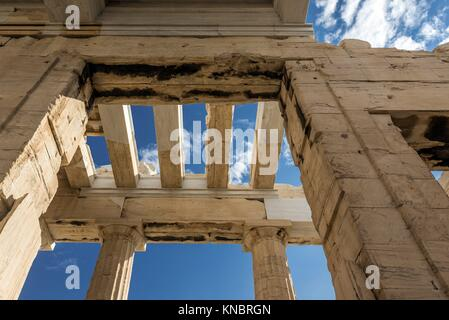 Monumental gateway called Propylaea, entrance to the top of Acropolis of Athens city, Greece. - Stock Photo