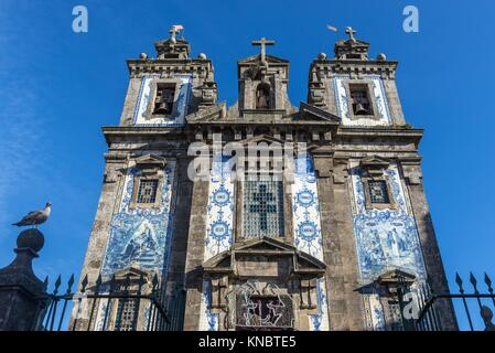 Azulejo tiles facade of Church of Saint Ildefonso of Toledo in Santo Ildefonso civil parish of Porto city, second - Stock Photo