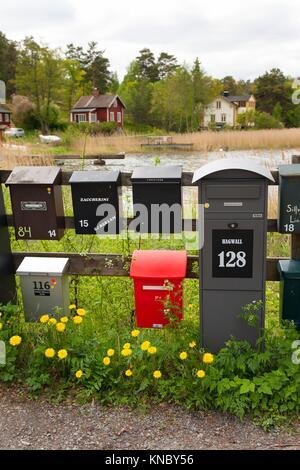 Mailboxes Swedish archipelago, Stockholm. - Stock Photo