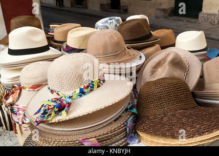 Hat for sale in the street in the historic old city, Cartagena, Colombia, South America. - Stock Photo