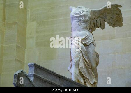 Victory of Samothrace, Rodian school of the Hellenistic period, 2nd century BC, Louvre Museum, Paris, France - Stock Photo