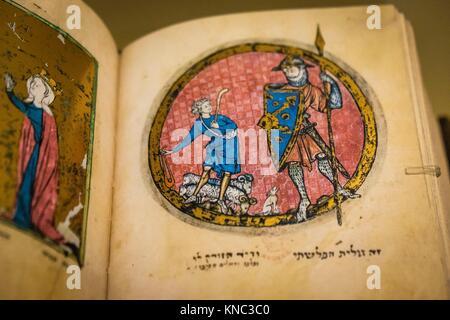 manuscrito hebreo, alrededor de 1278,Museo Judío de Berlín, Berlin, Alemania, Europe. - Stock Photo