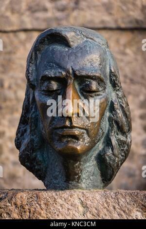 Fryderyk Chopin, escultura realizada por Zofia Wolska, cartuja de Valldemosa, siglo XV, Mallorca, Balearic Islands, - Stock Photo