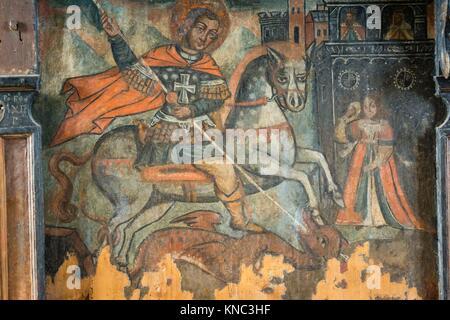 San Jorge y el dragon, siglo XVIII, museo de los iconos, castillo Real, Sanok, Podkarpackie Voivodeship, Poland, - Stock Photo